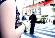 celular, hablar, calle, mensaje