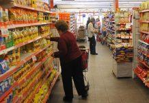 super, supermercado, gondolas