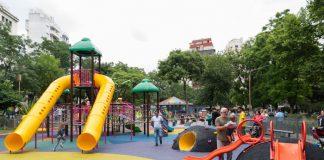 parque, humo, plaza, juegos